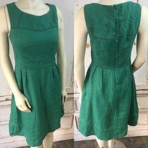 100% cotton green sleeveless dress